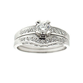 Tacori 18kwg Diamond Engagement Ring and Diamond Band Ring Set