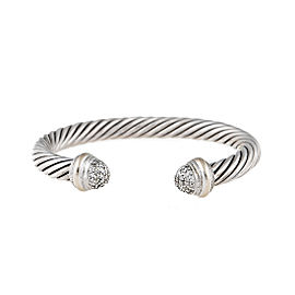 David Yurman Sterling Silver Cable 18k White Gold 0.49ct. Diamonds Cuff Bracelet