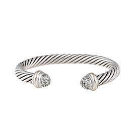 David Yurman Sterling Silver Cable 18k White Gold 0.49ct. Diamonds Cuff Bracelet