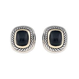 David Yurman Sterling Silver 14K Yellow Gold Onyx Earrings
