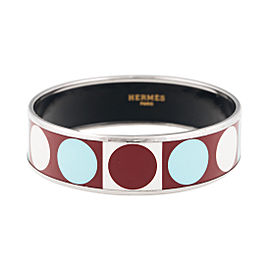 Hermes Wide Brown Turquoise and White Enamel Bracelet
