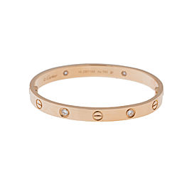 Cartier Love Bracelet 18K Rose Gold Half Diamond Size 19 B6036017