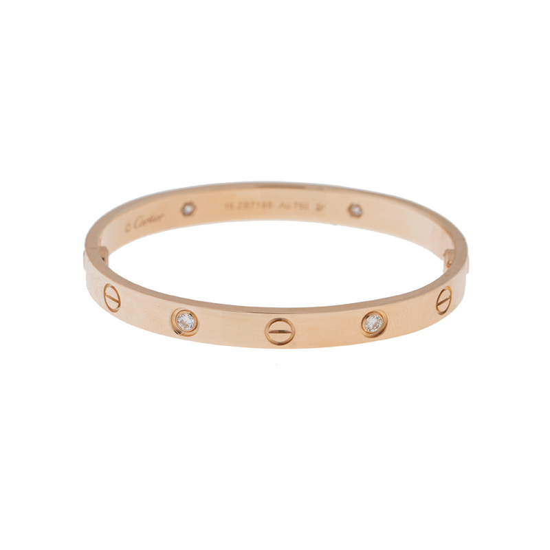 Cartier Love Bracelet Rose Gold Diamonds Size 17 B6036017 At Truefacet