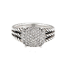 David Yurman Sterling SIlver Petite Wheaton 0.25ct. Diamond Ring Size 7