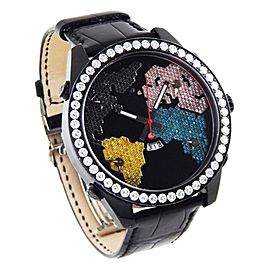 Jacob & Co. 5 Time Zone Diamond The World is Yours Black PVD & Leather 47mm Watch