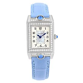 Jaeger LeCoultre Reverso Joaillerie Q2623402 18K White Gold & Leather Diamond Manual 20mm Womens Watch