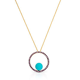 Le Vian Certified Pre-Owned Robin's Egg Turquoise and Bubblegum Pink Sapphires Pendant set in 14k Honey Gold