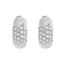 Bvlgari 18K White Gold Paved 2.00 Ct Diamond Spiga Huggie Earrings