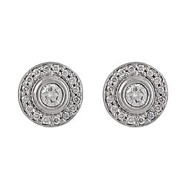 Blue Nile 18K White Gold Bezel-Set 1.00ct. Halo Diamond Stud Earrings