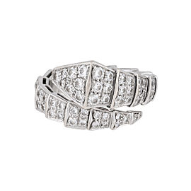 Bulgari 18K White Gold Serpenti One Coil Diamond Ring Size 7