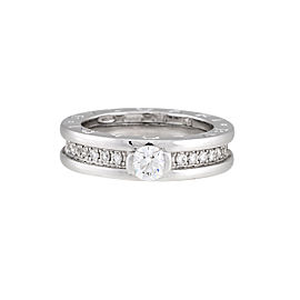 Bulgari 18K White Gold 0.30ctw Diamond Ring Size 5.5