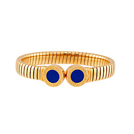 Bulgari 18K Yellow Gold Tubogas Cuff with Lapis Lazuli