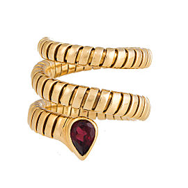 Bulgari 18K Yellow Gold Tubogas Pink Tourmaline Ring Size 8