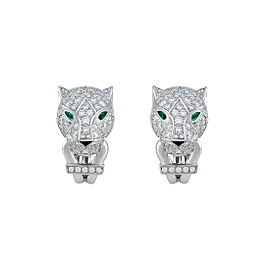 Cartier Panthère Earrings 18K White Gold Emerald Onyx 0.72ctw Diamonds