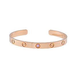 Cartier Love Bracelet 18K Rose Gold 1 Pink Sapphire Size 17