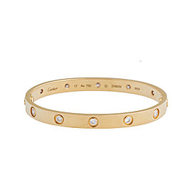 Cartier Love Bracelet 18k Yellow Gold 10 Diamonds Size 17