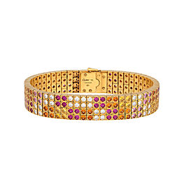 Cartier Lanieres Bracelet 18K Yellow Gold Gemstone and Diamond