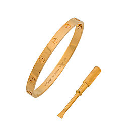 Cartier Love 18K Yellow Gold Bracelet Size 19