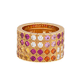Cariter Lanieres Ring 18K Yellow Gold Gemstone and Diamond Size 4.75