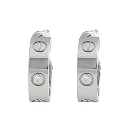 Cartier Love 18K White Gold Diamond Huggie Earrings