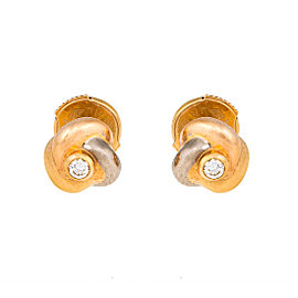 Cartier 18K Trinity Gold 0.04ct. Diamond Knot Stud Earrings