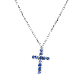 Cartier 18K White Gold Blue Sapphire Cross Pendant Necklace