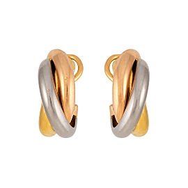 Cartier Trinity 18K White, Yellow & Rose Gold Earrings