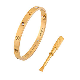 Cartier 18K Yellow Gold 4 Diamond Love Bracelet Size 18