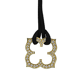 Cartier 18K Yellow Gold Clover and Diamond Pendant on Silk Cord Necklace