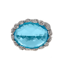 18K White Gold Carrera y Carrera Blue Topaz Ring Size 6.5