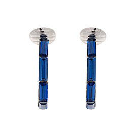 Dior Silver Tone Hardware with Blue Crystal Clip On Earrings