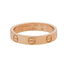 Cartier Mini Love 18K Rose Gold Ring Size 5.50-5.75