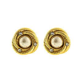 Chanel Faux Pearl and Rhinestone Rope Earrings