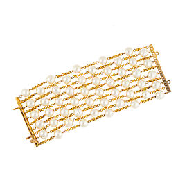 Chanel Vintage Multistrand Glass Simulated Pearl Bracelet