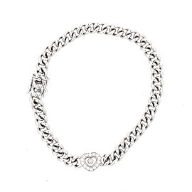 Chopard 18K White Gold Happy Diamond 0.25ct. Heart Link Bracelet