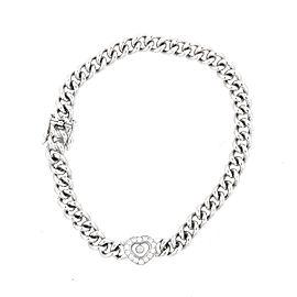 Chopard 18K White Gold Happy Diamond 0.25ct. Heart Link Bracelet