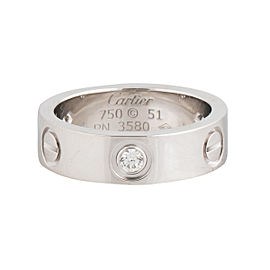 Cartier Love White Gold Ring 3 Diamonds Ring Size 5.75