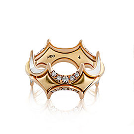 Jado Crown Couture Gold and Enamel 18k Yellow Gold Diamonds Ring