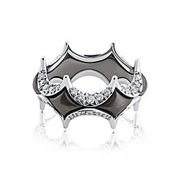 Jado Crown Couture Black With Diamonds 18k White Gold with Rhodium Plating Diamonds Ring