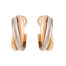 Cartier Trinity 18K Yellow Gold, Rose Gold and White Gold Earrings