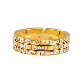 Cartier Maillon Panthere 18K Yellow Gold Diamond Ring Size 8.25
