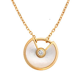 Cartier 18K Yellow Gold Diamond Mother Of Pearl Amulette De Cartier Necklace