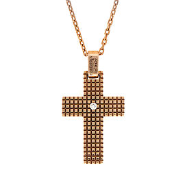 Damiani 18K Rose Gold Metropolitan Dream Diamond Cross Pendant Necklace