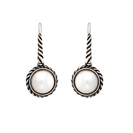 David Yurman 925 Sterling Silver Pearl Cable Drop Earrings