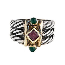 David Yurman Sterling Silver and 14K Yellow Gold Pink Sapphire and Green Onyx Cable Ring Size 7