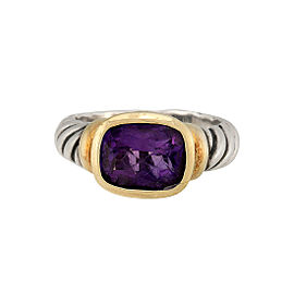 David Yurman Metallic Noblesse 14k Yellow Gold Sterling Silver Amethyst Ring Size 7