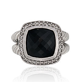 David Yurman Sterling Silver Onyx Albion with Diamonds Ring Size 7