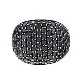 David Yurman Sterling Silver with 5.32ct. Black Diamonds Pave Cushion Ring Size 9