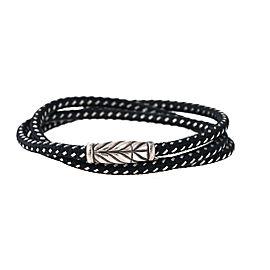 David Yurman Sterling Silver Metallic Chevron Triple-Wrap Bracelet