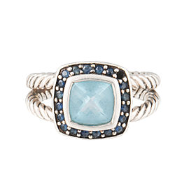 David Yurman Petite Albion Sterling Silver Blue Topaz and Pave Blue Sapphire Ring Size 5